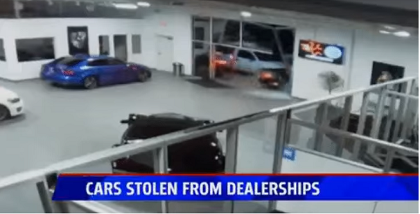image-of-thieves-drove-bentley-continental-gt-through-dealership-doors
