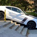 Ford Mustang Somehow Crashes Down Stairs At Canadian University