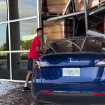 Reckless Young Man Crashes A Tesla Model Y Into The Side Of Warehouse